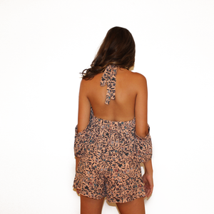 Halter Romper with Attached Sleeves and Floral Detail