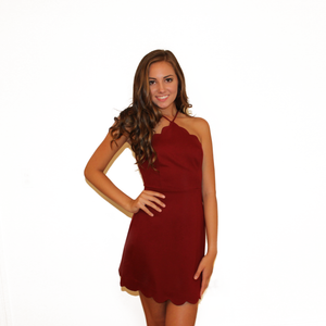 Maroon Scalloped Dress