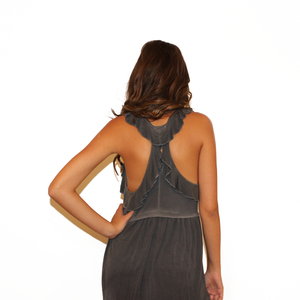 Charcoal Ruffle Baby Doll Tank