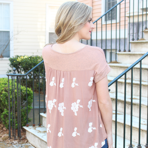 Rust Embroidered Back Tee