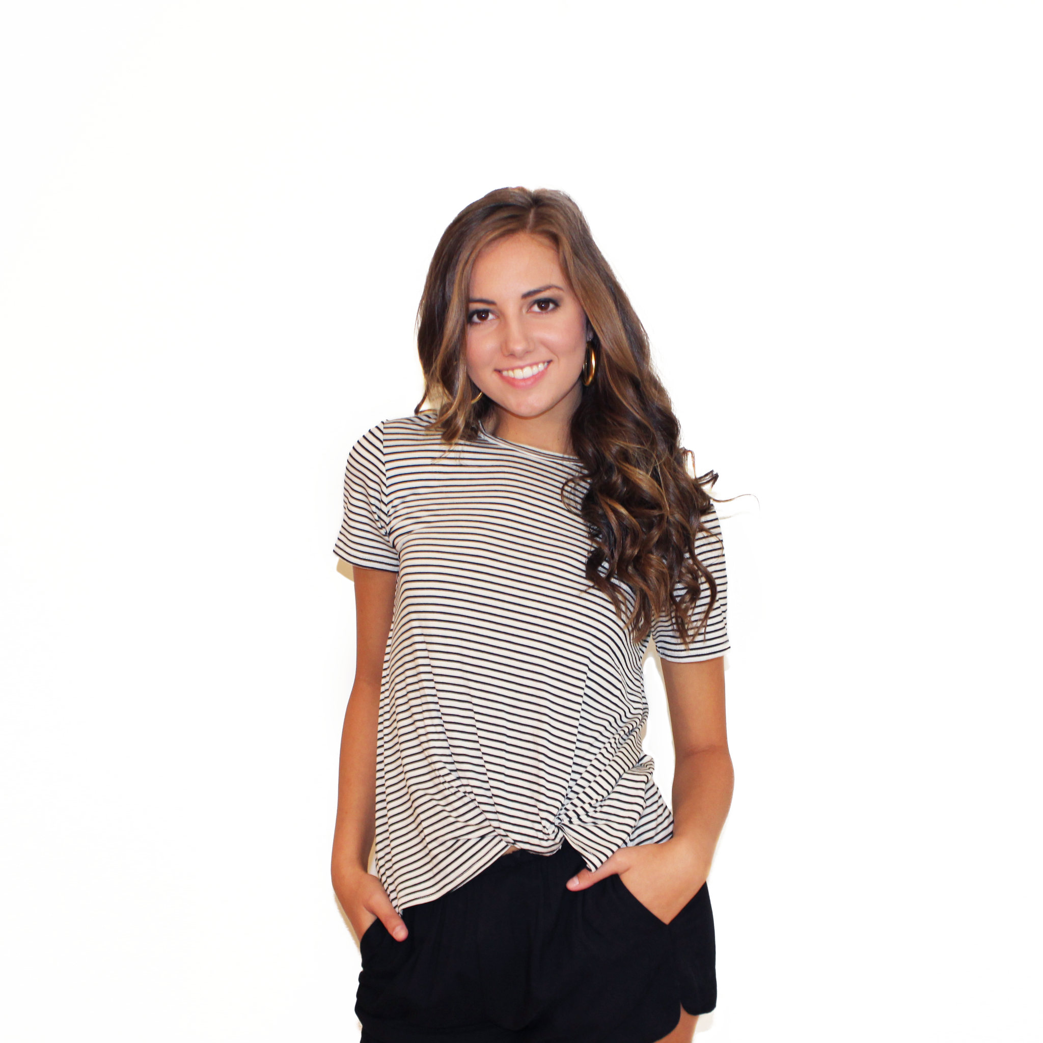 Pin Striped Knot Tee