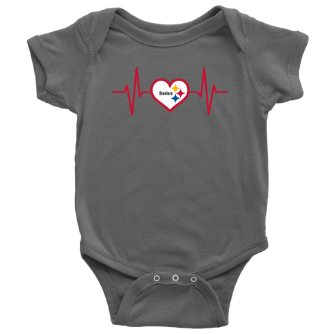 Pittsburgh - Steelers w/Heart EKG - Baby, Infant, Toddler, Youth T-Shirts