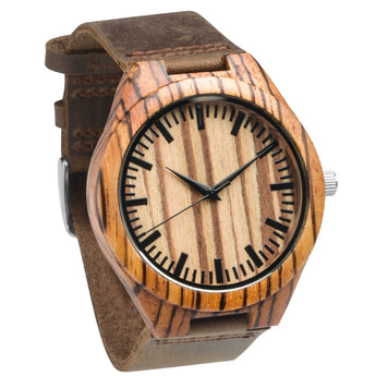 Wren - Wooden Watch Natural Zebrawood - Leathwoods