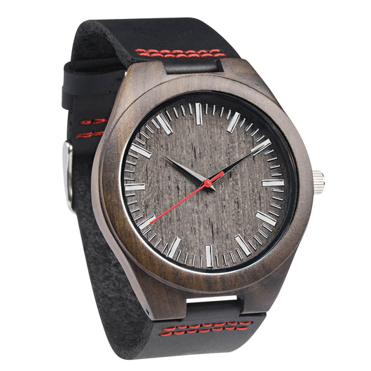 Crimson - Ebony Wooden Watch - Leathwoods