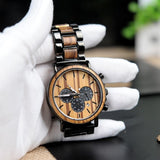 Sphinx - Handcrafted Natural Wood & Steel Wristwatch - Leathwoods