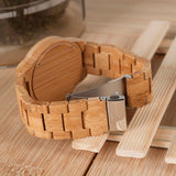 Caramel - Natural Bamboo Wood Watch - Leathwoods