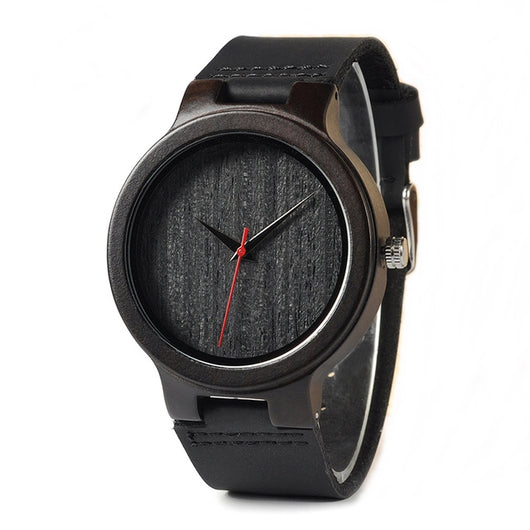 Ebony - Handcrafted Natural Wood Watch - Leathwoods