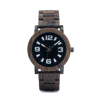 Dark Chocolate - Handcrafted Natural Wood & Steel Wristwatch - Leathwoods