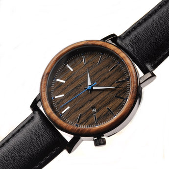 Turquoise - Handcrafted Natural Wood & Steel Wristwatch - Leathwoods