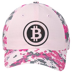 Bitcoin Distressed Logo Port Authority Colorblock Digital Camouflage Cap