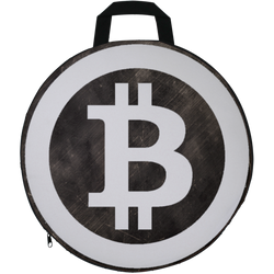 Bitcoin Distressed Logo Round Seat Cushion