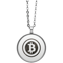 Bitcoin Distressed Logo Circle Necklace