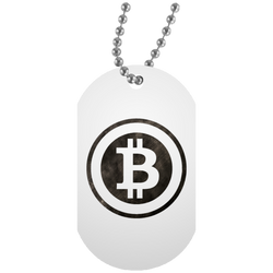 Bitcoin Distressed Logo White Dog Tag