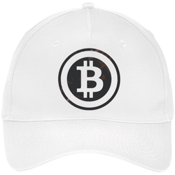 Bitcoin Distressed Logo Port & Co. Five Panel Twill Cap