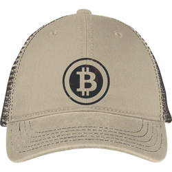 Bitcoin Distressed Logo District Mesh Back Cap
