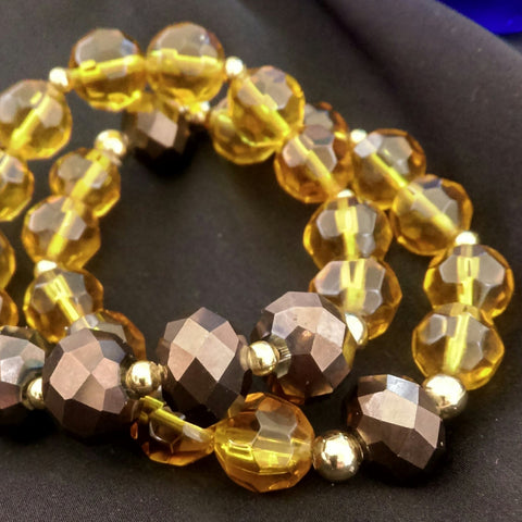 Iris Brown Stretch Bracelet Set // Glass Beaded Bracelet
