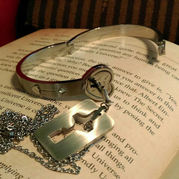 Heart Bracelet with Key Necklace // Couple's Bracelet & Necklace Set