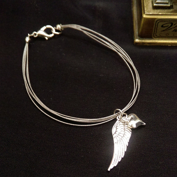 You're My Angel Bracelet // Angel Wing with Heart Charm Bracelet