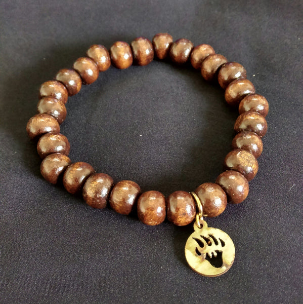 Wood Stretch Bracelet with Charm // Wood Beaded Bracelet