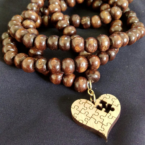 Layered Wood Bracelet with Heart Charm // Wood Beaded Bracelet