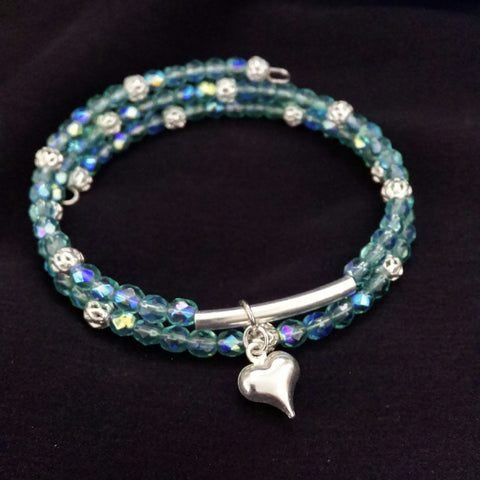 Aquamarine AB Bracelet // Glass Beaded Bracelet