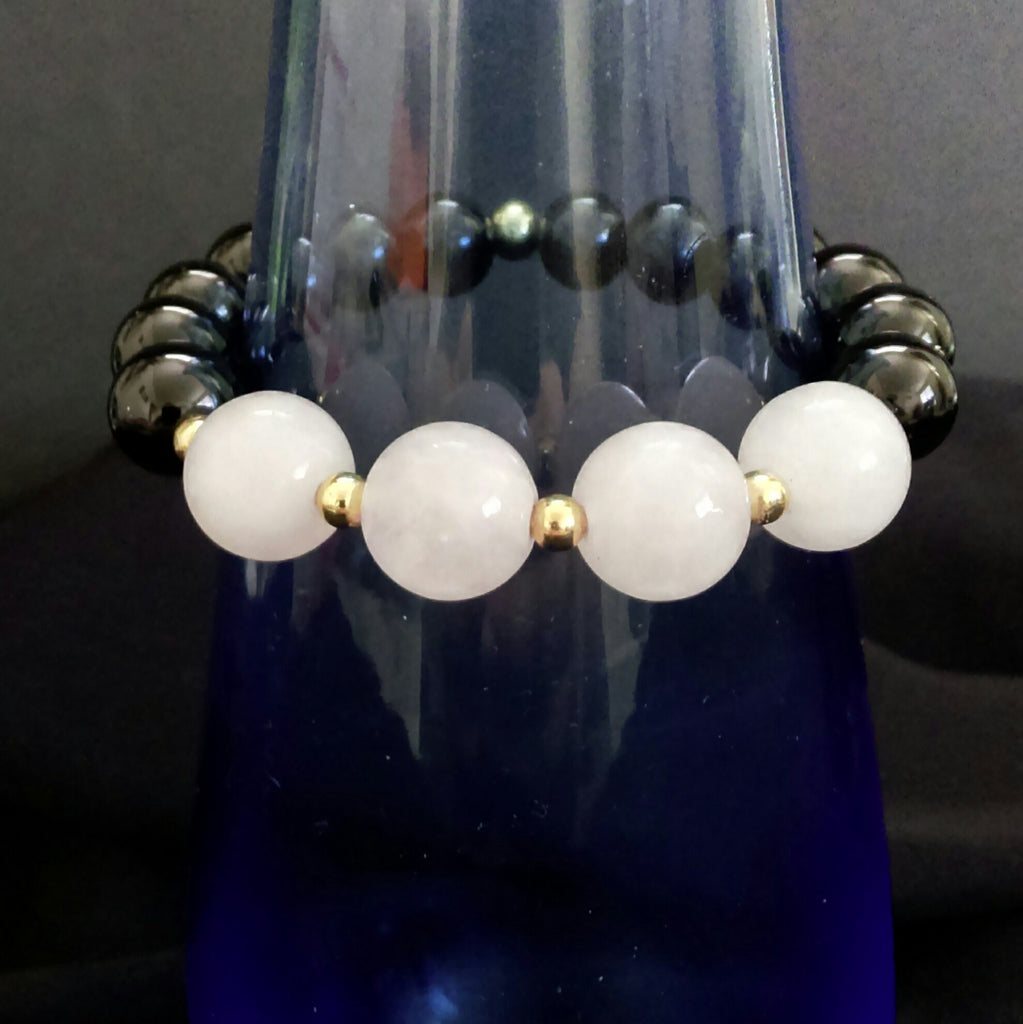 Rose Quartz and Black Onyx Stretch Bracelet // Gemstone Bracelet