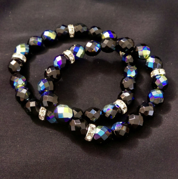 Jet AB Glass Stretch Bracelet // Glass Beaded Bracelet