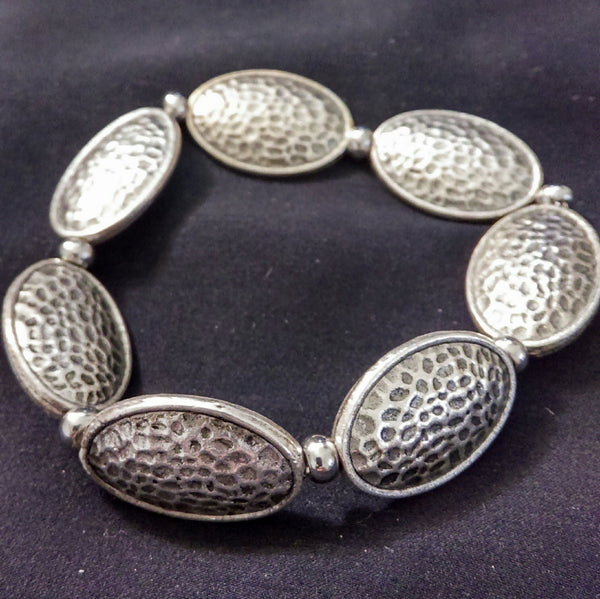 Silver Stretchy Bracelet // Metal Beaded Bracelet