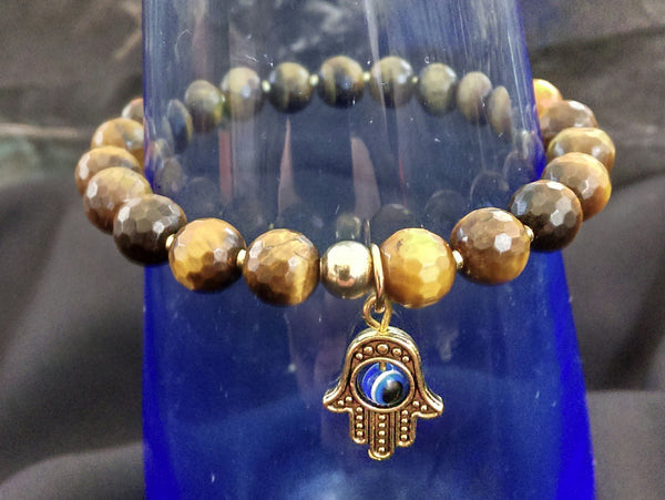Tiger's Eye Faceted Stretch Bracelet // Gemstone Bracelet