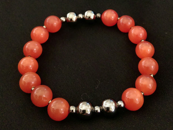 Deep Orange Cat's Eye Stretch Bracelet // Glass Beaded Bracelet