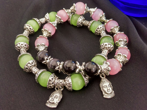 Watermelon Bracelet Set // Glass Beaded Bracelet