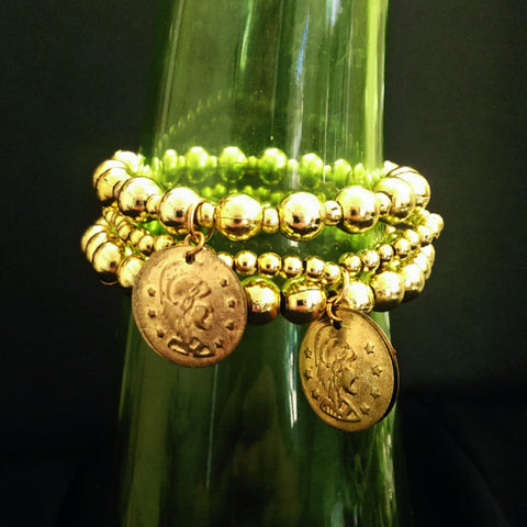 Gold Coin Stretchy Bracelet Set // Acrylic Beaded Bracelet