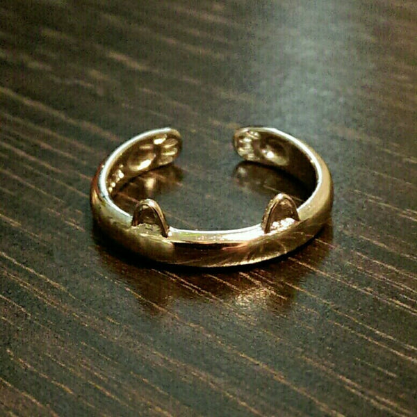 Who's a sexy kitty? // Cat Ears Ring with Paws // Stackable Ring
