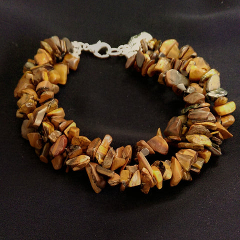 Tiger's Eye Multi-Strand Bracelet // Gemstone Bracelet