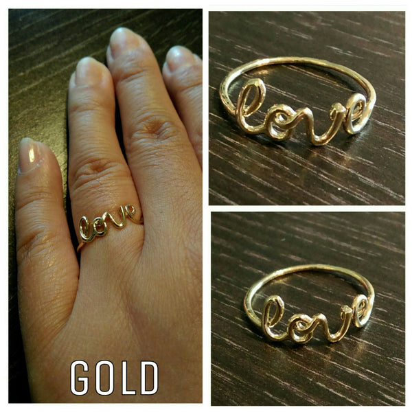 Love Ring // 16K Gold Plated Ring // Stackable Rings