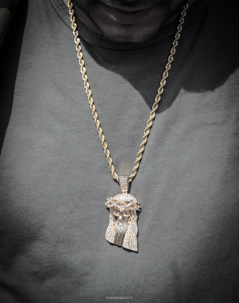 XL JESUS PIECE  STONES (W/ ROPE CHAIN) - ACCESSORIES, Golden Gilt, SNEAKER STUDIO, GOLDEN GILT, DESIGN BY TSS