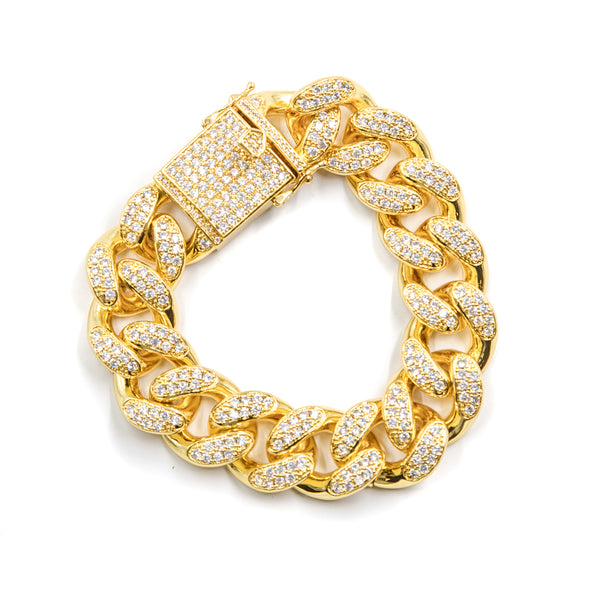 Studded Cuban Link Bracelet 20mm - 18K Gold Plated - ACCESSORIES, Golden Gilt, SNEAKER STUDIO, GOLDEN GILT, DESIGN BY TSS