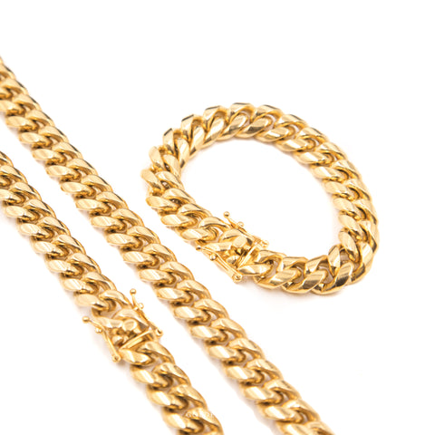 14mm Miami Cuban Link Bundle w/ Bracelet - , Golden Gilt, SNEAKER STUDIO, GOLDEN GILT, DESIGN BY TSS