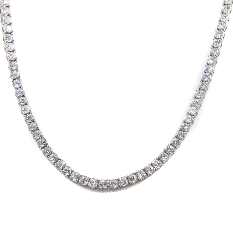 Tennis Necklace - Silver Polished