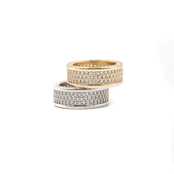 Triple Row Eternity Ring - ACCESSORIES, Golden Gilt, SNEAKER STUDIO, GOLDEN GILT, DESIGN BY TSS