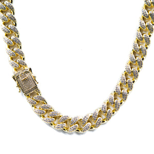 14MM Studded Cuban Link Choker - ACCESSORIES, Golden Gilt, SNEAKER STUDIO, GOLDEN GILT, DESIGN BY TSS