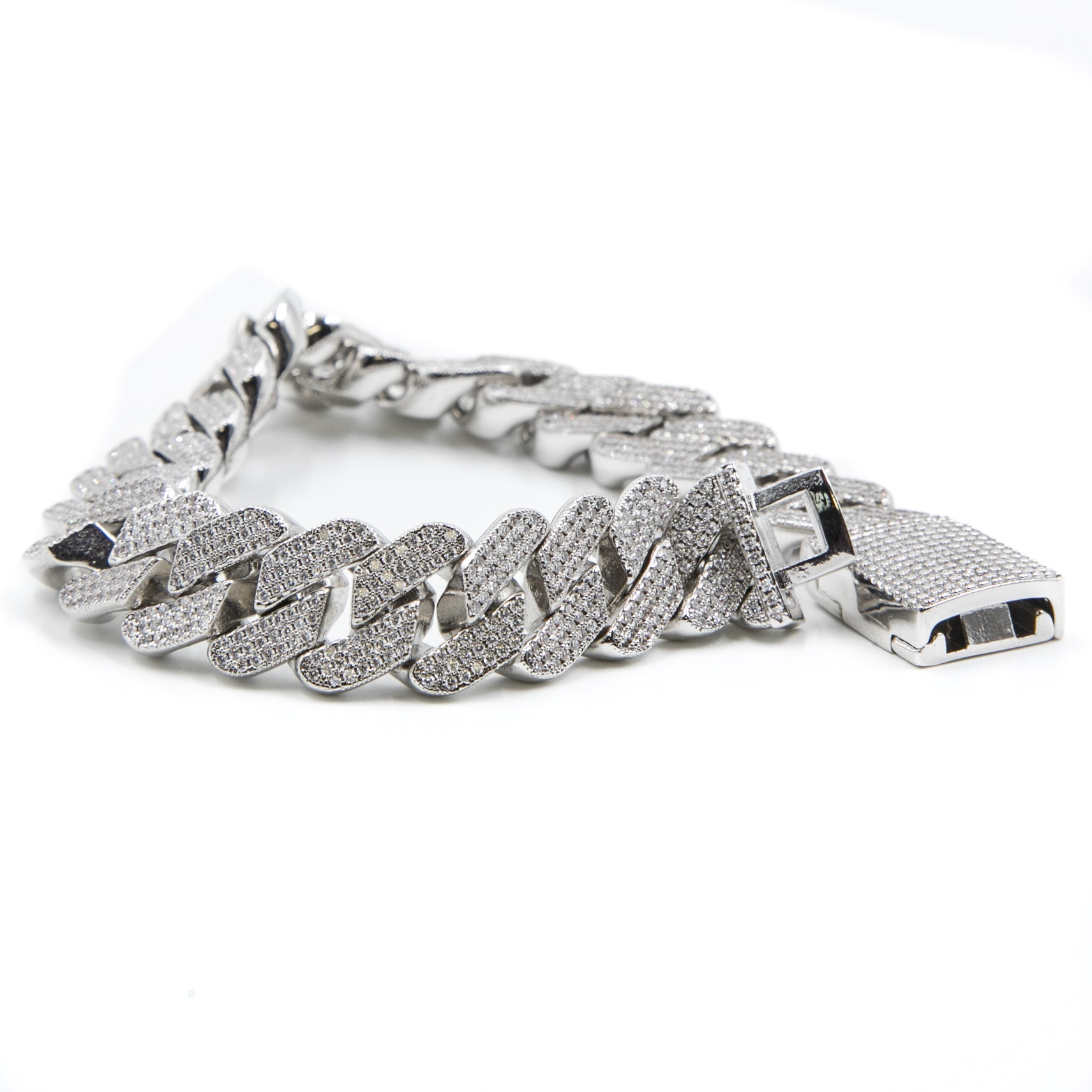 Studded Prong Set Cuban Link Bracelet - Silver - ACCESSORIES, Golden Gilt, SNEAKER STUDIO, GOLDEN GILT, DESIGN BY TSS