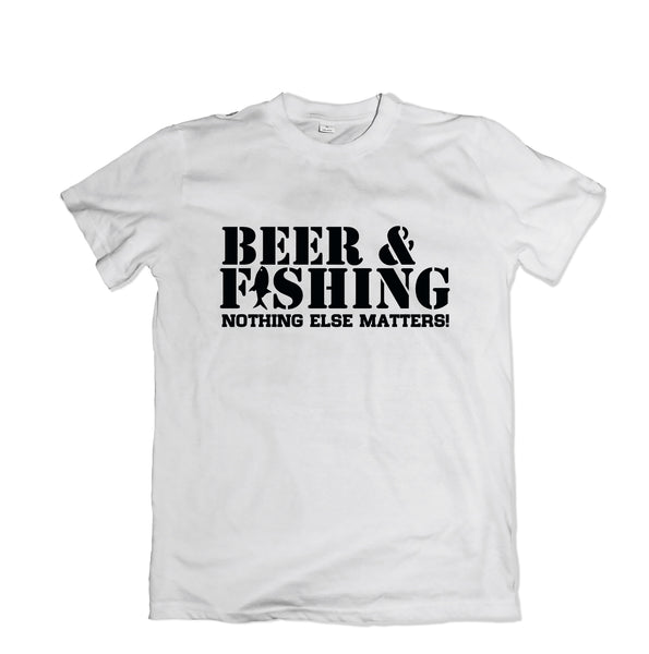 Beer and Fishing Tee Shirt - TOPS, TSS CUSTOM GRPHX, SNEAKER STUDIO, GOLDEN GILT, DESIGN BY TSS