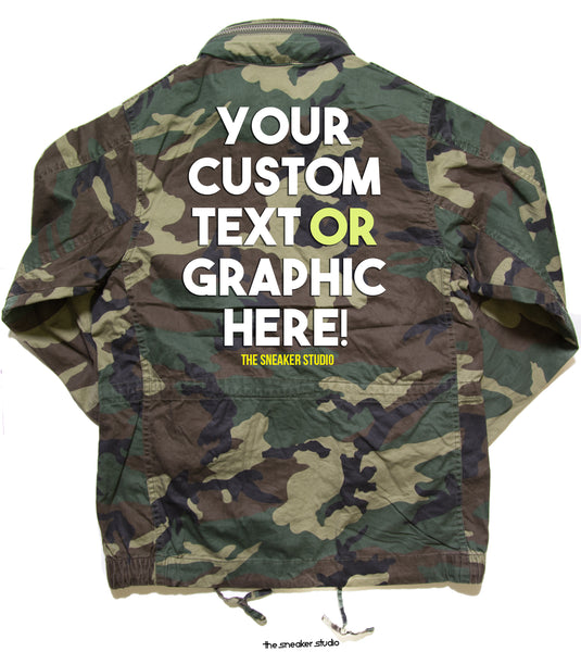Custom Camo Jacket Request - TOPS, TSS CUSTOM GRPHX, SNEAKER STUDIO, GOLDEN GILT, DESIGN BY TSS