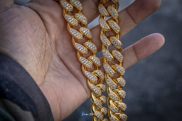 Stone Studded Cuban Link Necklace - ACCESSORIES, Golden Gilt, SNEAKER STUDIO, DESIGN BY TSS