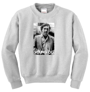 PABLO ESCOBAR Young OG Crewneck - GREY - TOPS, TSS CUSTOM GRPHX, SNEAKER STUDIO, GOLDEN GILT, DESIGN BY TSS