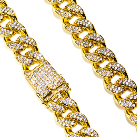 Stone Studded Cuban Link Necklace - ACCESSORIES, Golden Gilt, SNEAKER STUDIO, GOLDEN GILT, DESIGN BY TSS
