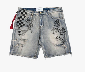 DESTROYED DENIM HAND ART SHORTS