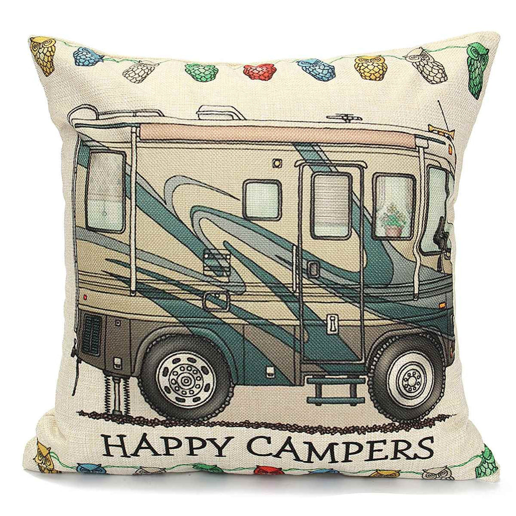 Divinious Linen Square Happy C&ers Pillows Case Cover Cut Bus Pattern Throw Invisible ...