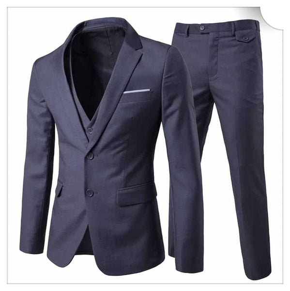 3-Piece Notched Lapel Casual Suit Grey